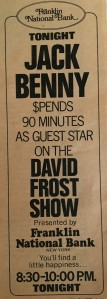 ad for Jack Benny on David Frost Show