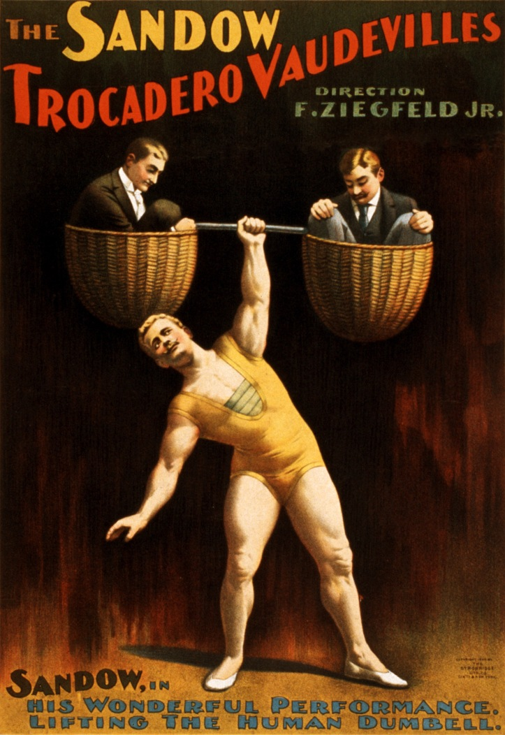 The_Sandow_Trocadero_Vaudevilles,_Sandow_lifting_the_human_dumbell,_1894