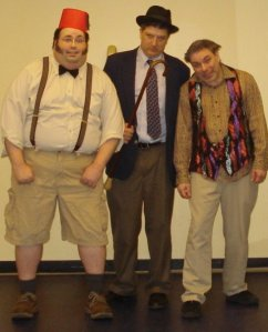 Roger Nasser, Trav S.D. and Robert Pinnock as The Three F--kbags in AVT's burlesque benefit for Theater for the New City