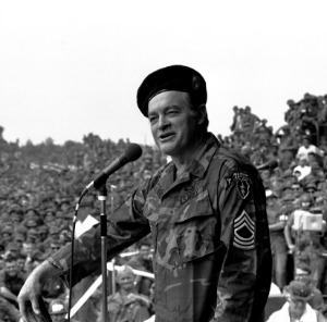 Bob Hope entertains troops in Vietnam with U.S.O.