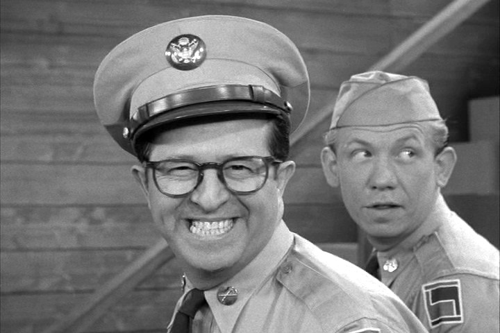 "Silvers as Bilko, with fellow cast member Allan Melvin, known later for playing Barney Hefner on ""All in the Family"""