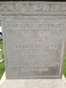 Lovecraft family monument, Swan Point Cemetary. For 40 years this was the only marker indicating where he was buried (his name is at the bottom)