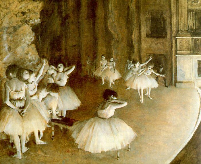 """Ballet Rehearsal on Stage"", Edgar Degas, 1874"