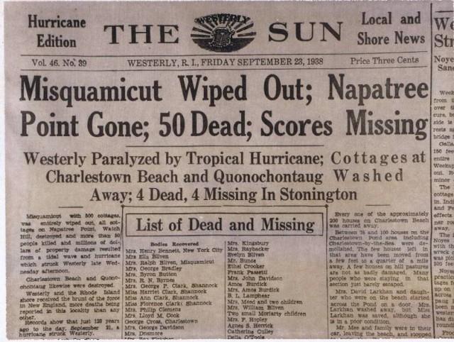 1938 Hurricane Headline
