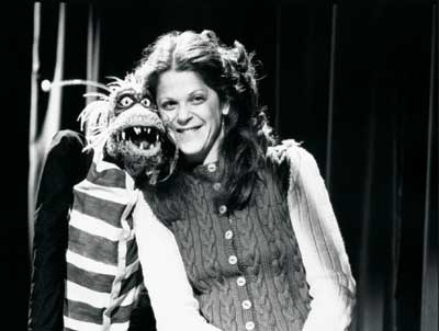 Gilda Radner with one of the Muppet creatures, Season 1, SNL