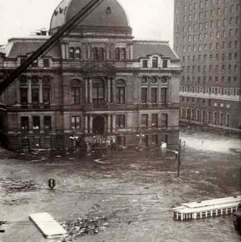 Downtown Providence, Sept. 21, 1938. That's city hall; the Biltmore Hotel is to the right. The storm surge reached 21 feet here.