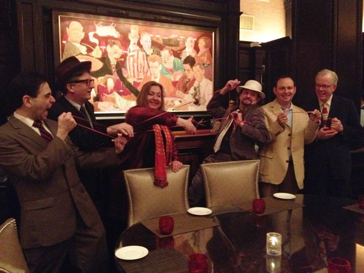 The Party of the First Part: The Marxfest Committee cuts the ribbon on Marxfest at the site of the Algonquin Round Table