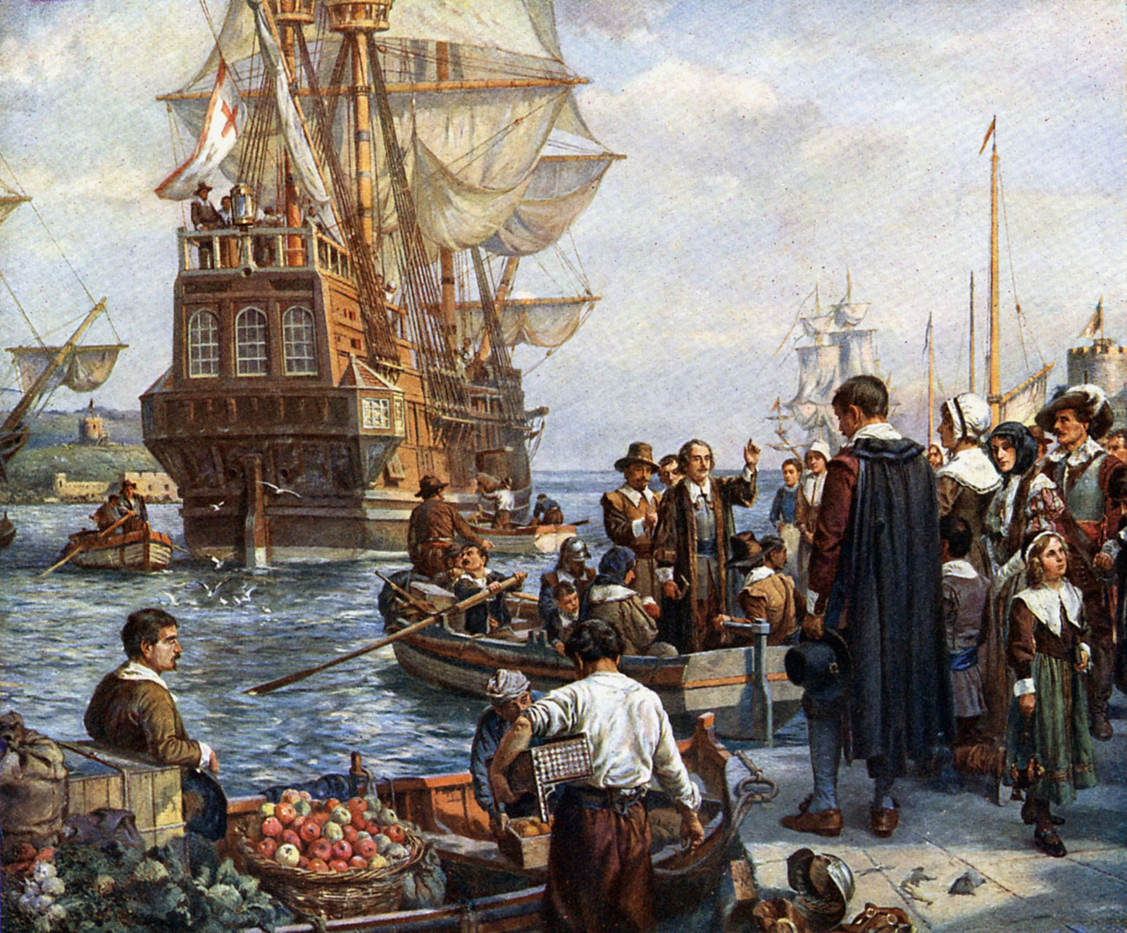 Polgrims Boarding The Mayflower