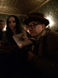"December: with Molly Crabapple, at the launch for her new book ""Drawing Blood"""