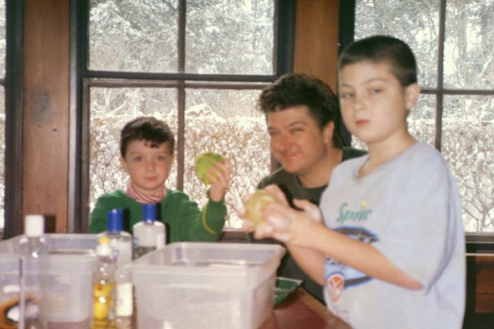 Doing some crafts on a snowy day in Ithaca with dad and brother Cashel, circa 2003