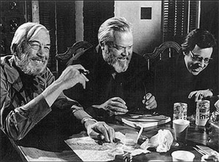 "Welles during the shooting of ""The Other Side of the Wind"" with stars John Huston and Peter Bogdonich because you know what? He was actually making movies until the day he died"