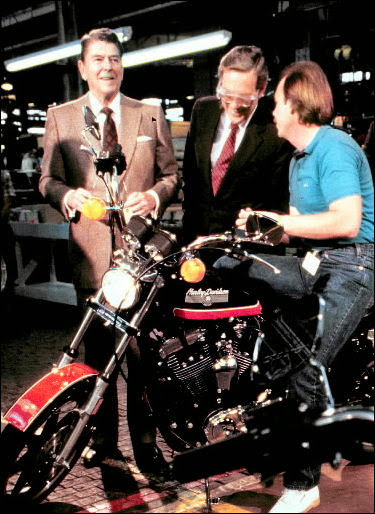 Ronald Reagan on the shop floor  of a Harley Davidson factory.