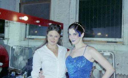 Stone (right), with Sarah Jane Bunker, who played Gidget, backstage at the Ohio