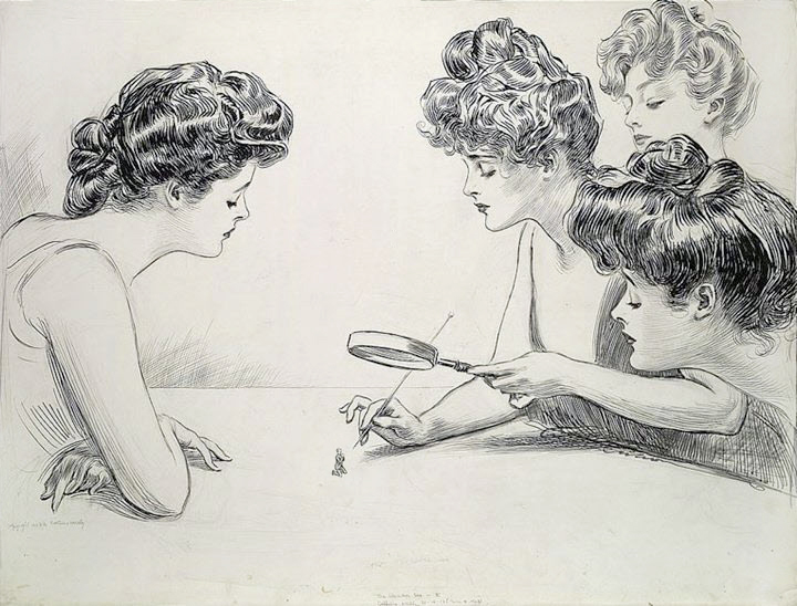 Gibson Girls Observe a Tiny Man Through a Magnifying Glass