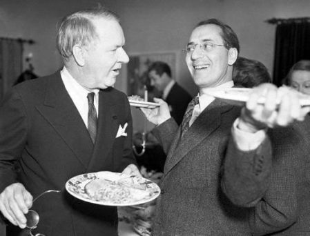 W.C. and Groucho out of uniform at a Hollywood party