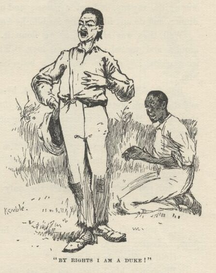 """The Duke"", who was nothing of the sort, from Mark Twain's ""Huckleberry Finn"""