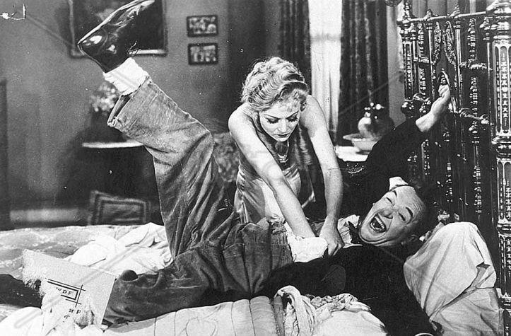 Sharon Lynn tickles Stan Laurel, Way Out West
